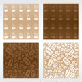 A set of coffee patterns in two different colors and two different variations Royalty Free Stock Images