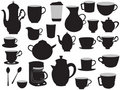 The set of coffee pots and cups Royalty Free Stock Images