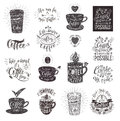 Set of Coffee quotes with a cup. Vector hand-drawn lettering Royalty Free Stock Photo