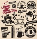 Set of coffee symbols and icons signs collection vector design elements vintage labels badges with cups Royalty Free Stock Image