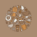 Set of coffee theme. Line art draw icons in the circle.