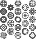 Set of cogwheels illustrated gear cog wheels isolated on white background Stock Image