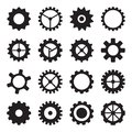 Set of cogwheels pinions and gears isolated on white background for industrial machinery design Stock Photography