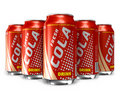 Set of cola drinks in metal cans Royalty Free Stock Images