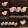 Set Colage Wooden Toy Birds Decoration Rough Background Royalty Free Stock Photo