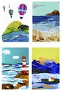 Set of collage landscapes illustration