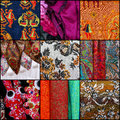 Set collage textiles colorful collection black frame Stock Photography