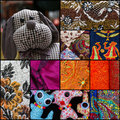 Set collage textiles colorful dog puppet collection black frame Royalty Free Stock Photography