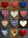 Set collage valentine s love hearts on rustic backgrounds in colorful fabric plywood and birch black frame Stock Photos