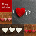 Set collage valentine s love message with colorful fabric hearts and plywood on rustic backgrounds black frame Royalty Free Stock Images