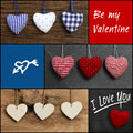 Set collage valentine s love message with colorful fabric hearts and plywood on rustic backgrounds black frame Stock Images