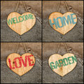 Set Collage Welcome Love Garden Home message wooden heart signs Royalty Free Stock Photo