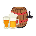 Set collection foamy beer glass with barrel and glass cup