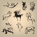 Set from the collection of horses stylized in different poses Stock Images