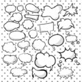 Set, collection of speech and think cartoon bubbles. Different empty doodle bubbles for texts. Variety forms. Vector