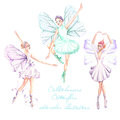 Set, collection of watercolor ballet dancers with butterfly wings illustrations Royalty Free Stock Photo
