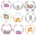 Set, collection of watercolor cartoon houses inside the floral wreaths