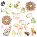 Set, collection of watercolor Easter illustrations
