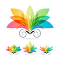 Set color art flowers Royalty Free Stock Photo