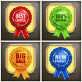 Set of color award labels on black with ribbon vector illustration Royalty Free Stock Photo