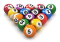 Set of color billiard balls with numbers for american game isolated on white background Royalty Free Stock Image