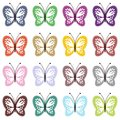 Set with color butterflies on white Stock Photography