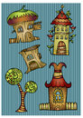 Set of color cartoon vector houses fantasy Royalty Free Stock Photography