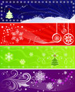 Set of color Christmas banners Royalty Free Stock Photo