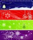 Set of color Christmas banners