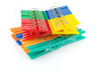 Set color clothes pegs over white Royalty Free Stock Photography