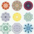 Set of color ethnic ornamental floral patterns. Hand drawn manda Royalty Free Stock Photo