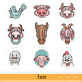 Set of Color Farm Animals Outline Web Icons Royalty Free Stock Photo