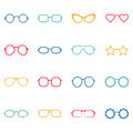 Set of color glasses and sunglasses icons illustration collection Stock Image
