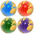 Set of color globes Royalty Free Stock Photo