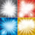 Set of color vector grunge background with rays Royalty Free Stock Photo