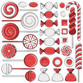 Set of color illustrations with red candies.