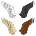 Set of color illustrations of wings. Isolated vector objects.