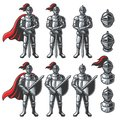 Set of color knights Royalty Free Stock Photo