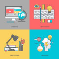 Set of color line icons on the theme of graphic and web design