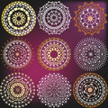 Set color mandalas in a metallic Royalty Free Stock Photo
