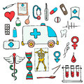 Set color medical symbols and signs hand drawn on white background Stock Image