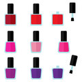 Set of color nail polishes