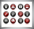 Set of color new year buttons. Royalty Free Stock Photo