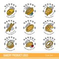 Set of color outline kind bakery product logo. Labels for different bread isolated