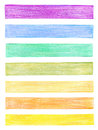 Set of color pencil graphic elements isolated Royalty Free Stock Image