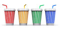 Set of color plastic or paper drink cups with straws