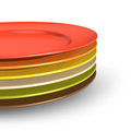 Set of color porcelain plates Royalty Free Stock Photo