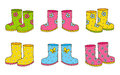 Set of color rubber boots