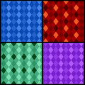 Set of color seamless patterns with rhombus vector illustration Stock Photography