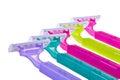 Set of color shaving razor isolated on white background Stock Photo